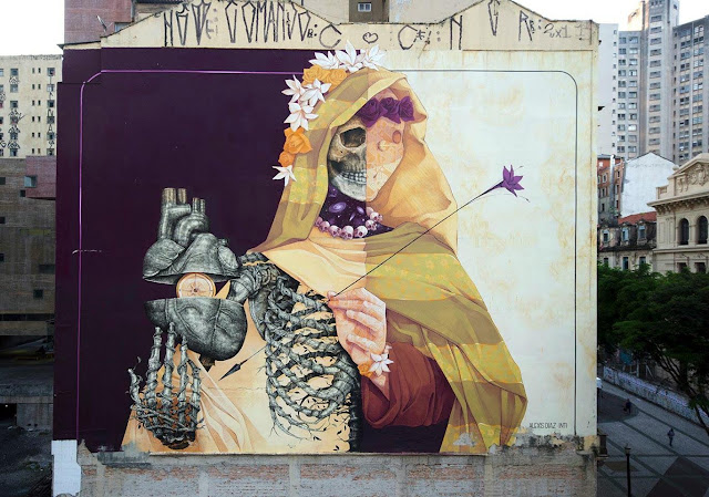 Another stellar street art collaboration took place on the busy streets of Sao Paulo in Brazil with Alexis Diaz and INTO for the O.Bra Festival.
