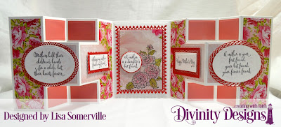 Divinity Designs Stamp Set:  Daughter's Best Friend, Custom Dies: Half Shutter Card with Layers, Ovals, Ornate Ovals, Layered Lacey Ovals, Pierced Circles, Fancy Circles, Lavish Layers, Rectangles, Double Stitched Rectangles, Pierced Rectangles, Paper Collection: Pretty Pink Peonies, Mixed Media Stencil: Damask