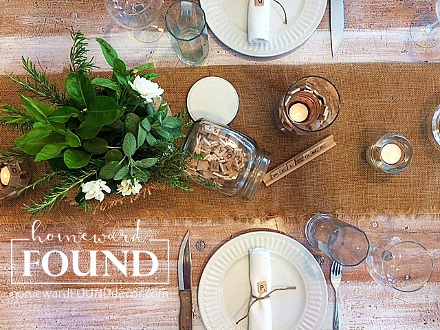 decorating, decorating basics, DIY, diy decorating, entertaining, fall, farmhouse style, fast cheap and easy, neutrals, rustic style, seasonal, simple solutions, style, summer, tablescapes, burlap, Scrabble tiles,Pinterest, Instagram, homewardFOUND decor