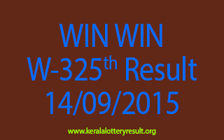WIN WIN W 325 Lottery Result 14-9-2015