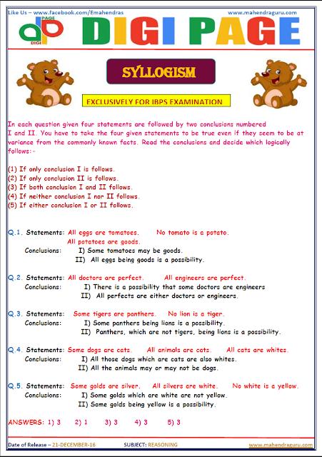 DP | Syllogism | 21 - DEC - 16