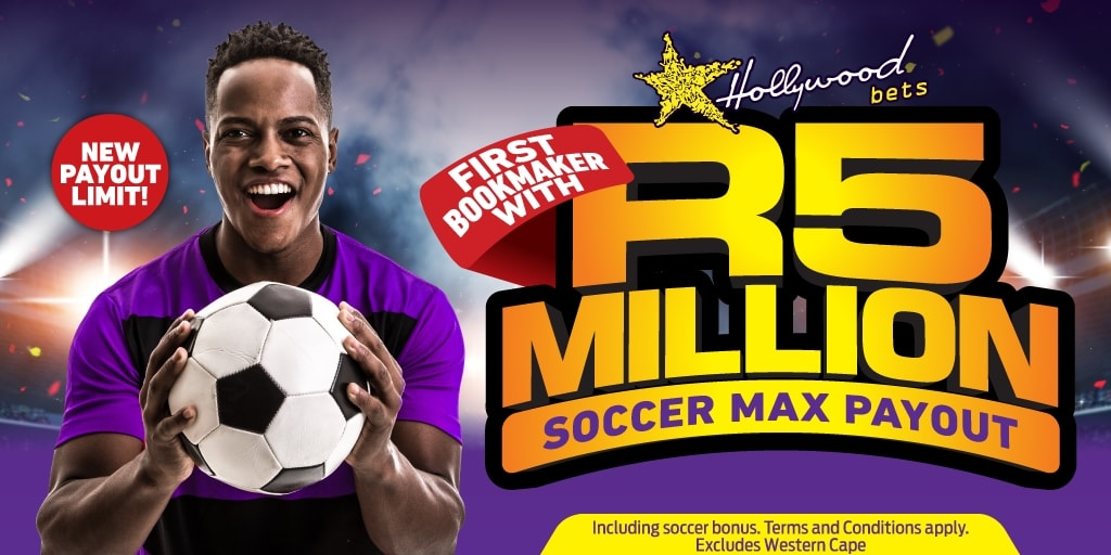 R5 Million New Soccer Payout Limit at Hollywoodbets. T&Cs apply.