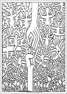 the marriage of the sky and hell keith haring printable adults coloring pages