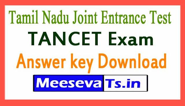 Tamil Nadu Joint Entrance Test  TANCET Exam Answer key Download 2019