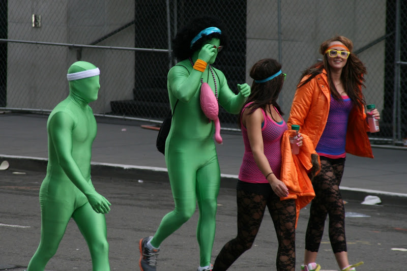 100th Bay to Breakers green lycra bodysuits