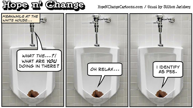 obama, obama jokes, political, humor, cartoon, conservative, hope n' change, hope and change, stilton jarlsberg, schools, bathrooms, transgender, decree