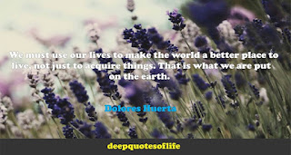 We must use our lives to make the world a better place to live, not just to acquire things. That is what we are put on the earth for. Dolores Huerta