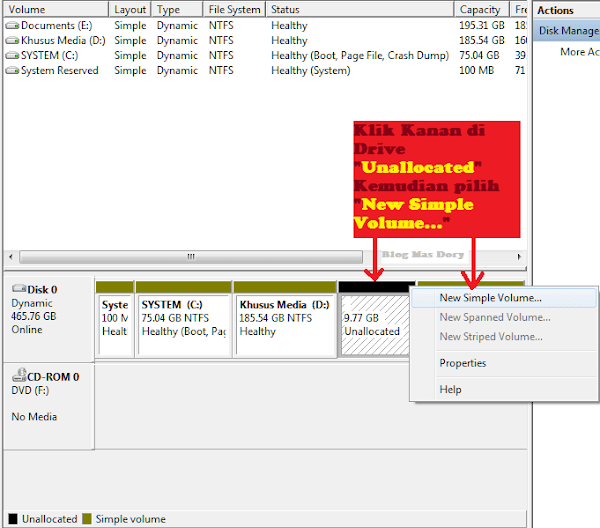 Computer Management, Klik kanan Drive Unallocated, klik New Simple Volume Blog Mas Dory