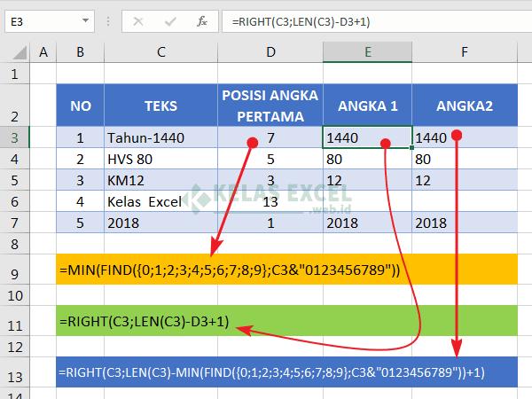 Rumus memisahkan angka di excel