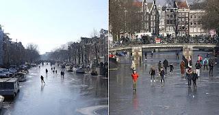 Πάγωσαν τα κανάλια στο Άμστερνταμ και οι κάτοικοι έκαναν πατινάζ
