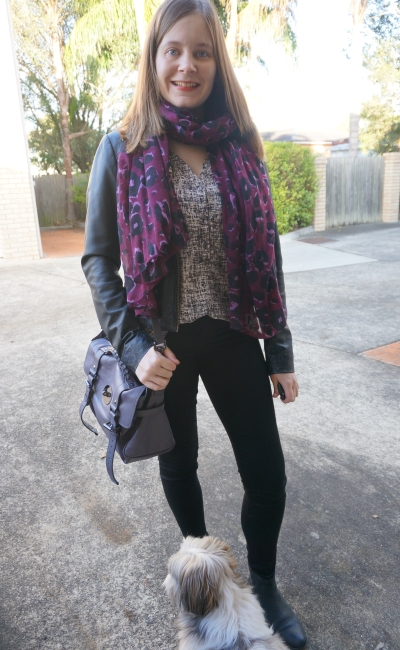 purple leopard print scarf printed tank leather jacket skinnies ankle boots winter SAHM style | Away From Blue