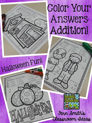 Fern Smith's Classroom Ideas Halloween Fun! Basic Addition and Subtraction - Color Your Answers at Teacherspayteachers.