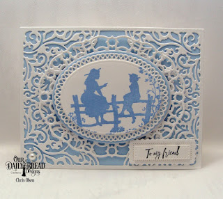 Our Daily Bread Designs Stamp Set: Sister Time, Custom Dies:Lacey Corners, Lavish Layers, Layered Lacey Ovals, Pierced Rectangles, Ovals, Ornate Ovals