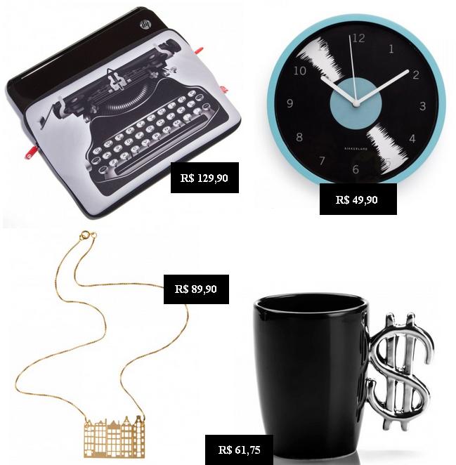 Case para notebook estampa máquina de escrever, relógio de parede design vinil, colar Amsterdam, caneca money