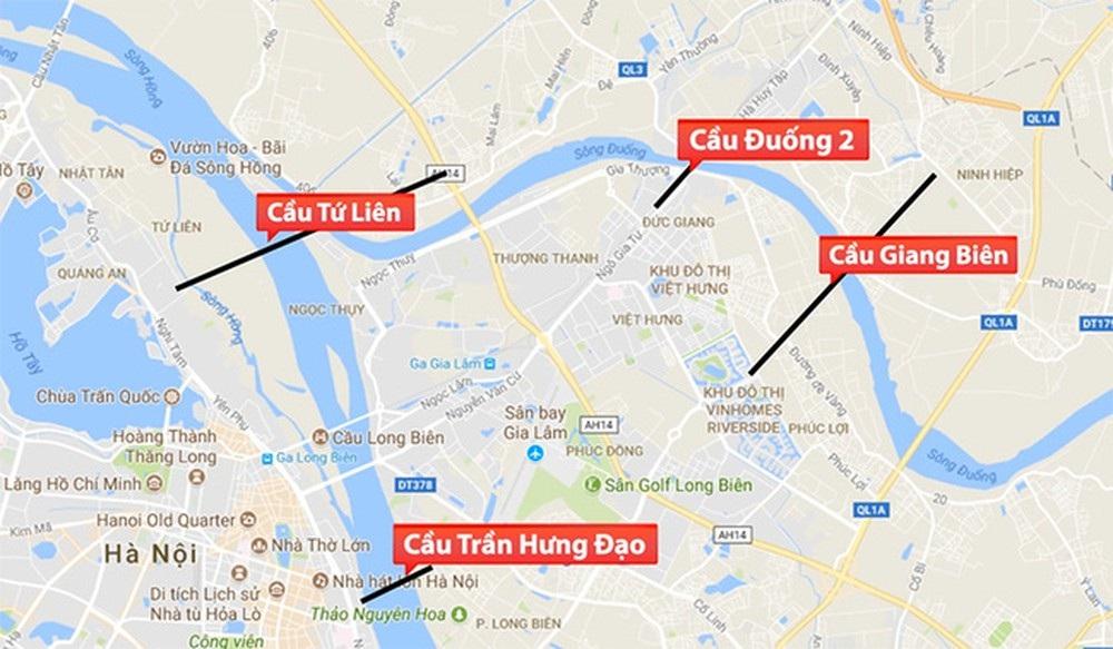 4 cây cầu qua đi qua quận Long Biên thời gian tới.