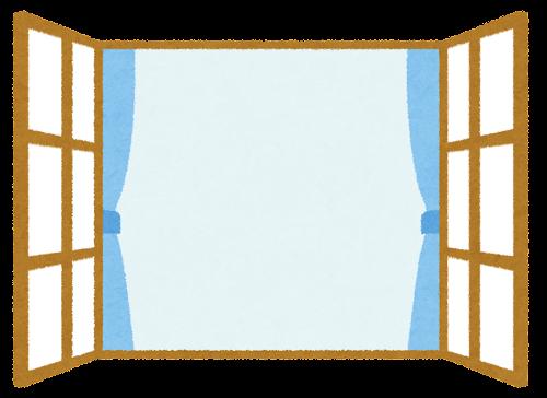 開いた窓のイラスト