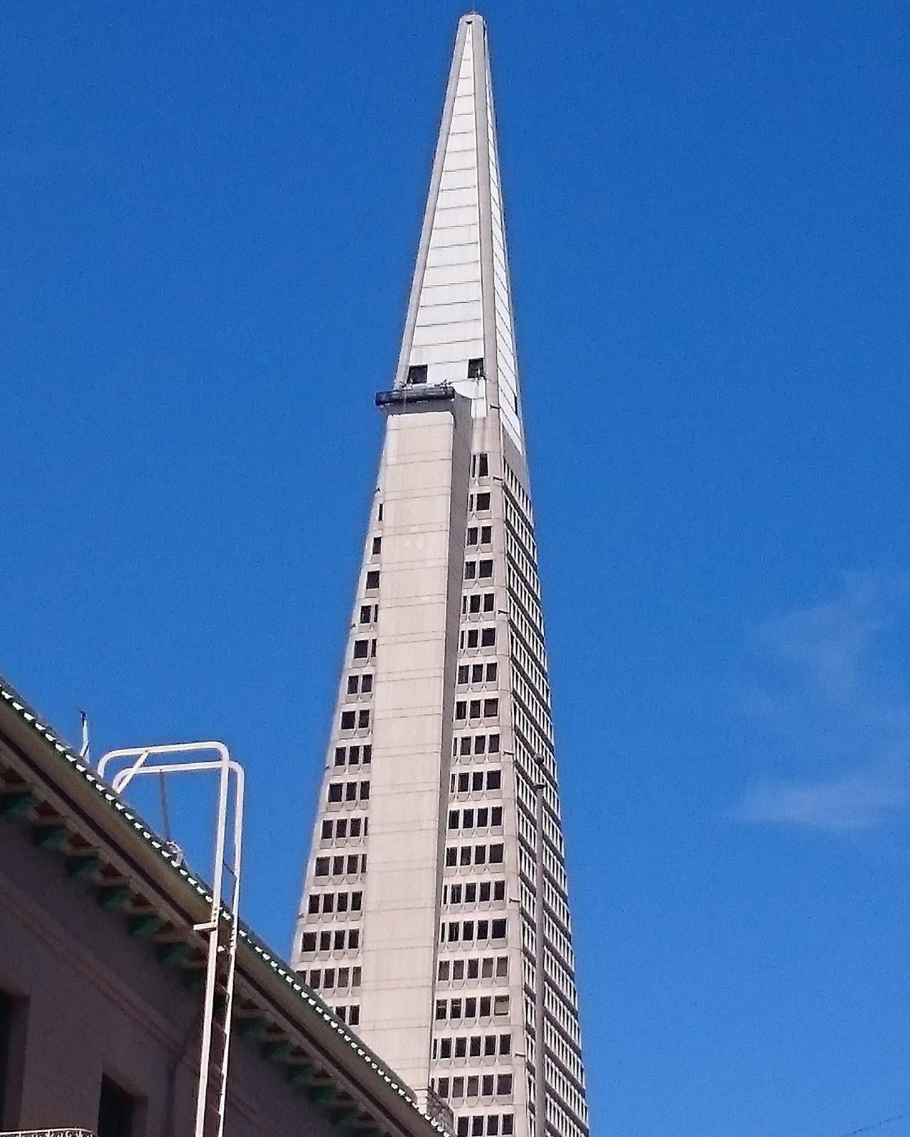 Upwards view of Transamerica Pyramid San Francisco