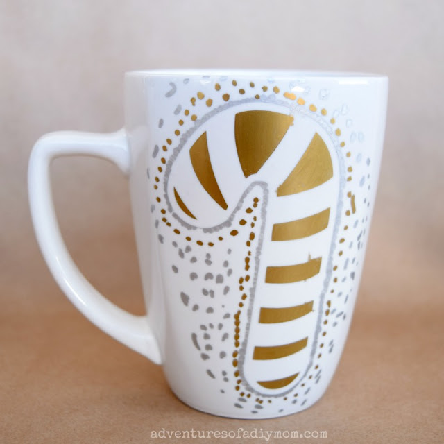 candy cane christmas mug - customized marker mugs