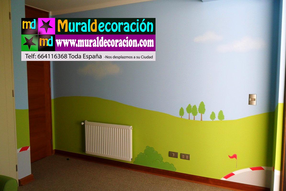 pared opuesta al mural principal del dormitorio infantil with murales para dormitorios juveniles