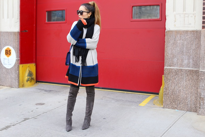 Shein color block cardigan, acne studio scarf, karen walker super duper sunglasses, celine classic box bag, steve madden gorgeous over the knee boots, spring outfit ideas, nyc street style
