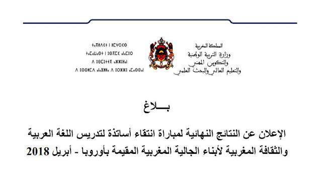 النتائج النهائية لمباراة انتقاء أساتذة لتدريس اللغة العربية والثقافة المغربية لأبناء الجالية المغربية المقيمة بأوروبا - أبريل 2018