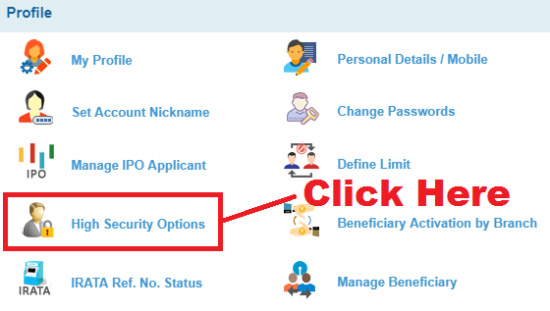 how to disable high security transaction password in sbi