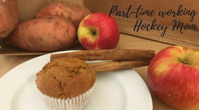 Blog With Friends, multi-blogger posts. This month's theme: Apples | Apple/Sweet Potato Muffins by Tamara of Part-time Working Hockey Mom | Shared on www.BakingInATornado.com