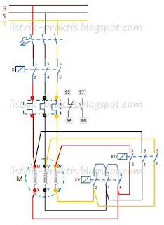 Diagram daya pengasutan motor star delta