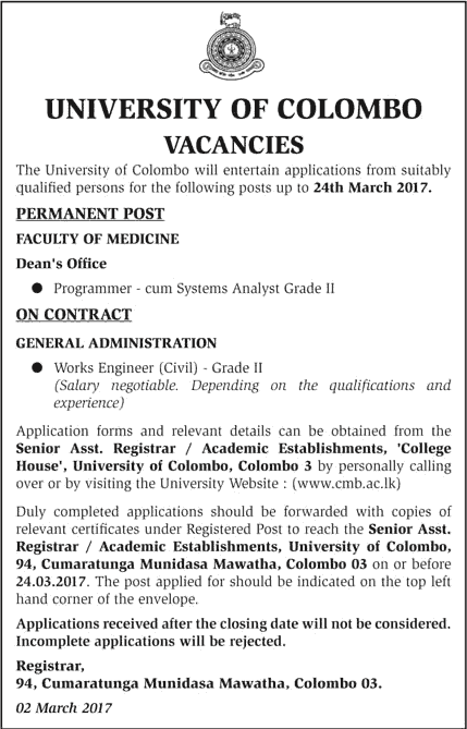 Sri Lankan Government Job Vacancies at University of Colombo for Programmer cum System Analyst, Works Engineer (Civil)