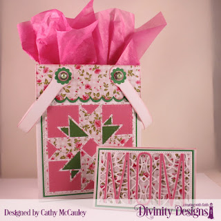 Divinity Designs Paper Collection: Pretty Pink Peonies, Embossing Folder: Cross Stitch, Custom Dies: Quilted Triangles, Card Caddy & Gift Bag, Gift Bag Handles & Topper, Gift Card Holder, Long & Lean Letters, Pierced Rectangles, Circles, Scalloped Circles