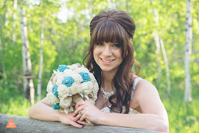 sola flower bouquet with burlap roses and lace'