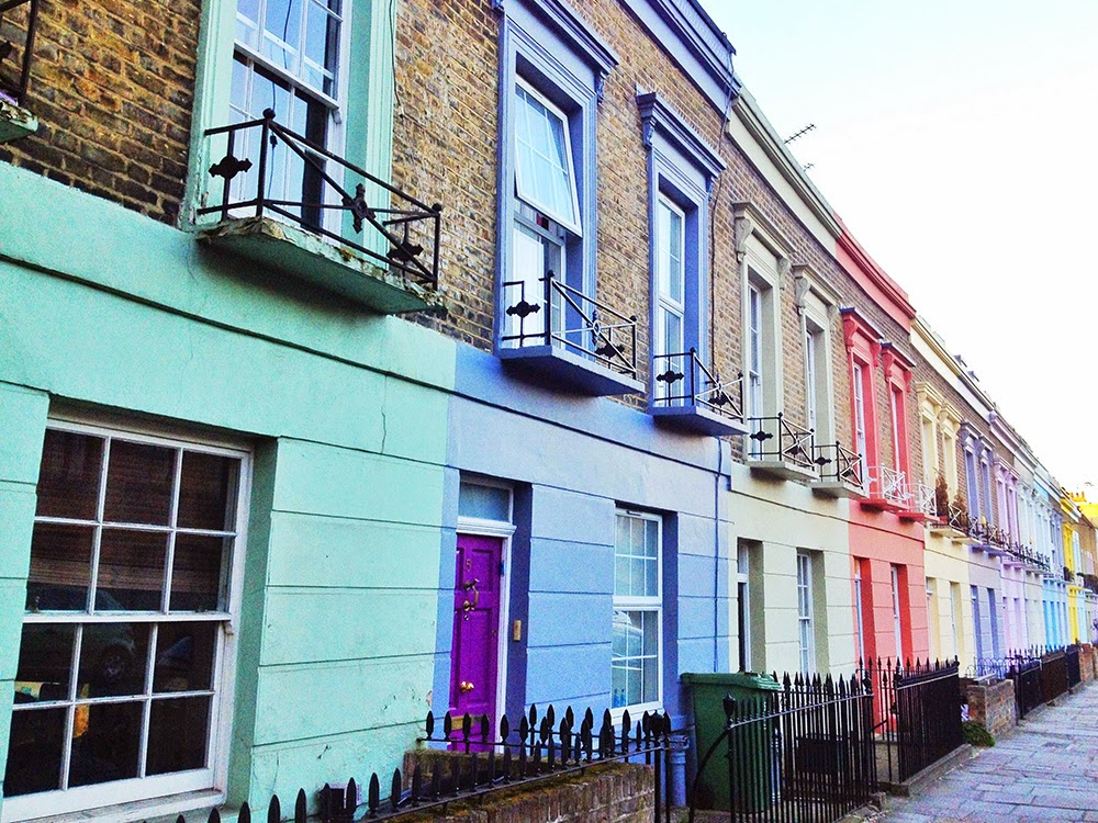 Pretty pastel buildings in Camden - London architecture - beautiful England
