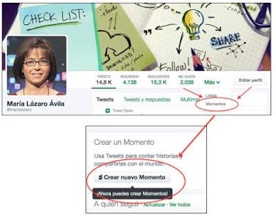 Crear Twitter Moments desde el perfil