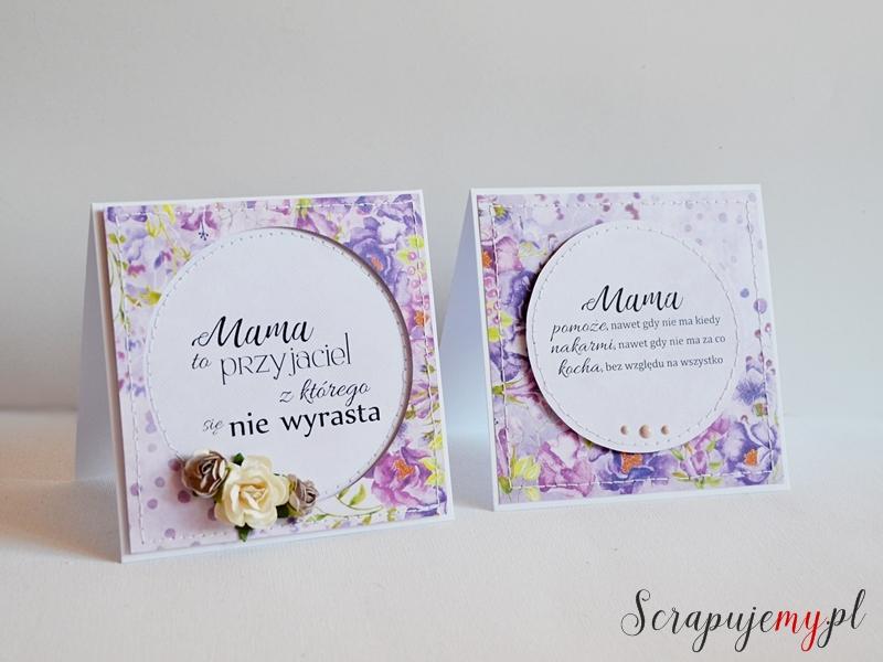 prezent na dzień matki, fioletowa kartka, dla mamy