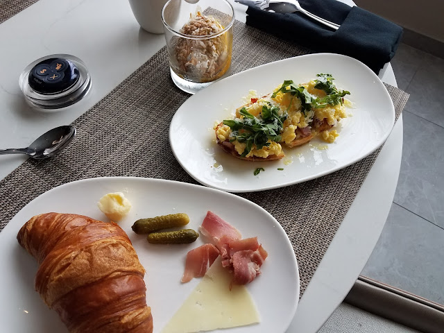 Each morning, the AC Hotel Raleigh North Hills serves a buffet continental breakfast.