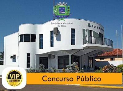 edital Prefeitura de Borá-SP, concurso oferece 11 vagas