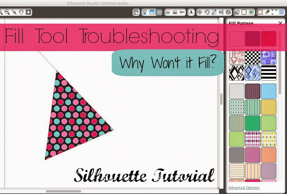 Fill color, pattern, not filling, Silhouette tutorial, Silhouette Studio, troubleshooting