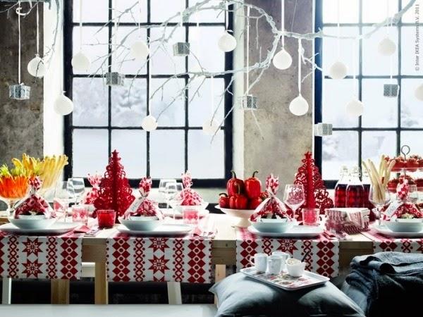 Mesa navideña rojo blanco