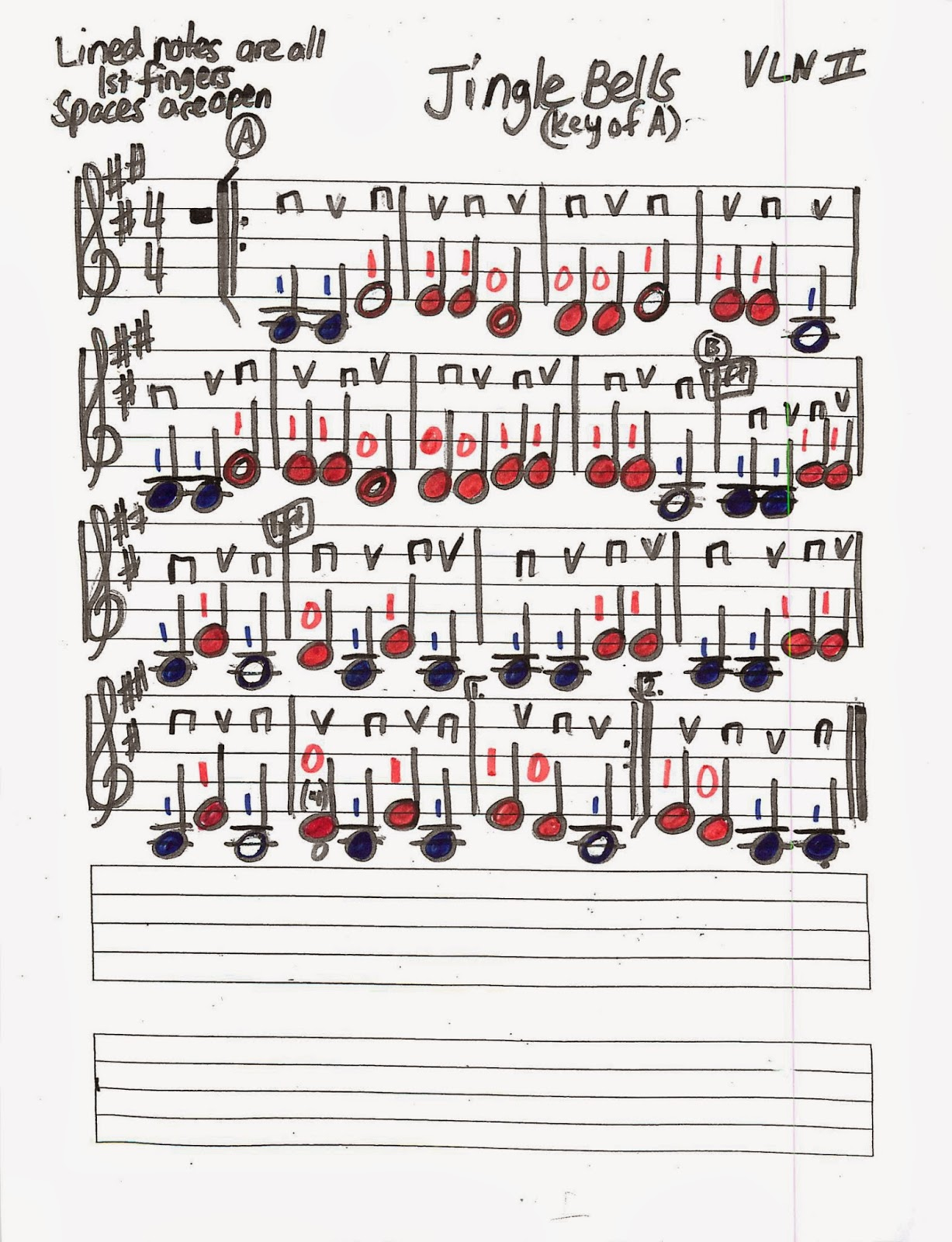 Notes For Jingle Bells On The Keyboard With Letters