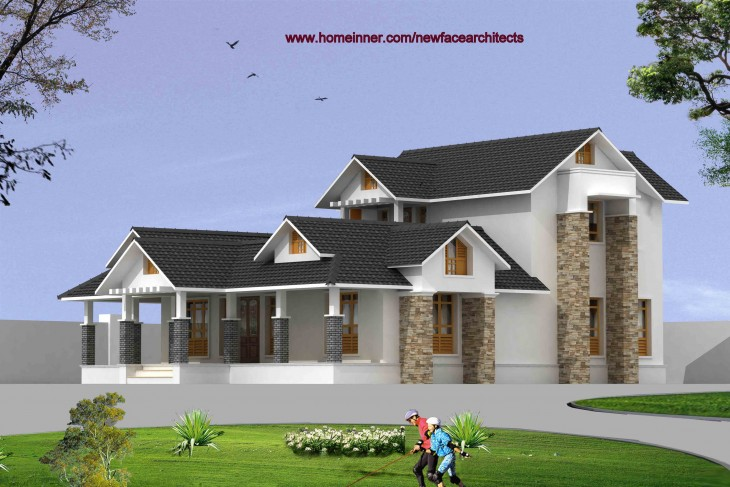 2200 sqft 3 bed room house 3d exterior view 730x487