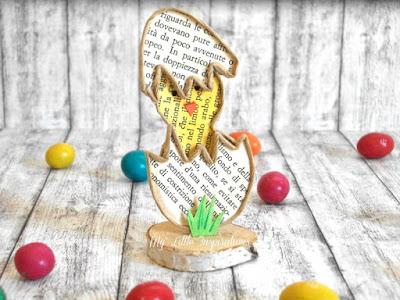 Pulcino di Pasqua segnaposto in fil di ferro e carta - orizz. - MLI