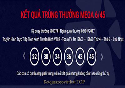 Xổ số Vietlott Mega 6/45 ngày 08/01/2017