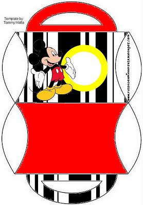 cajita almohada con asa imprimible gratis de Mickey Mouse
