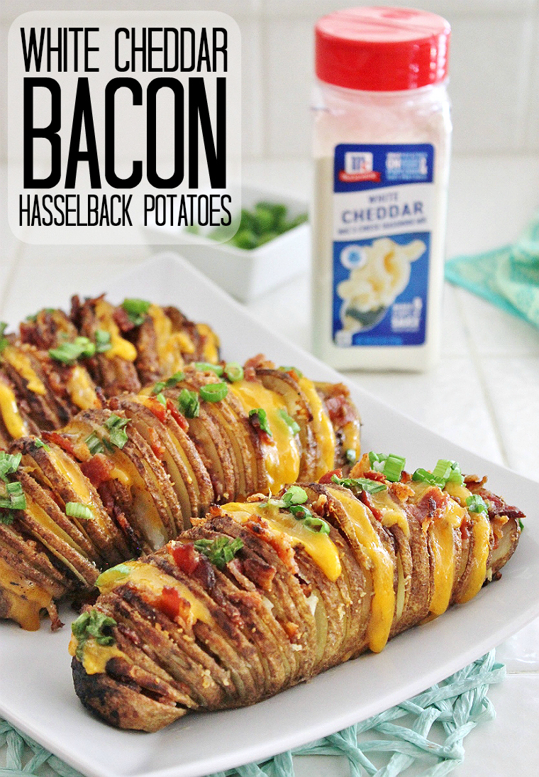 #LeaveBlandBehind with delicious recipe free cooking thanks to NEW McCormick Seasoning Blends- Try these White Cheddar Bacon Hasselback Potatoes tonight! #AD
