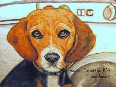 cane beagle dipinto bysa ritratto