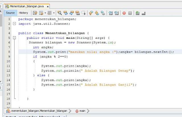 script program java untuk menentukan bilangan genap dan ganjil