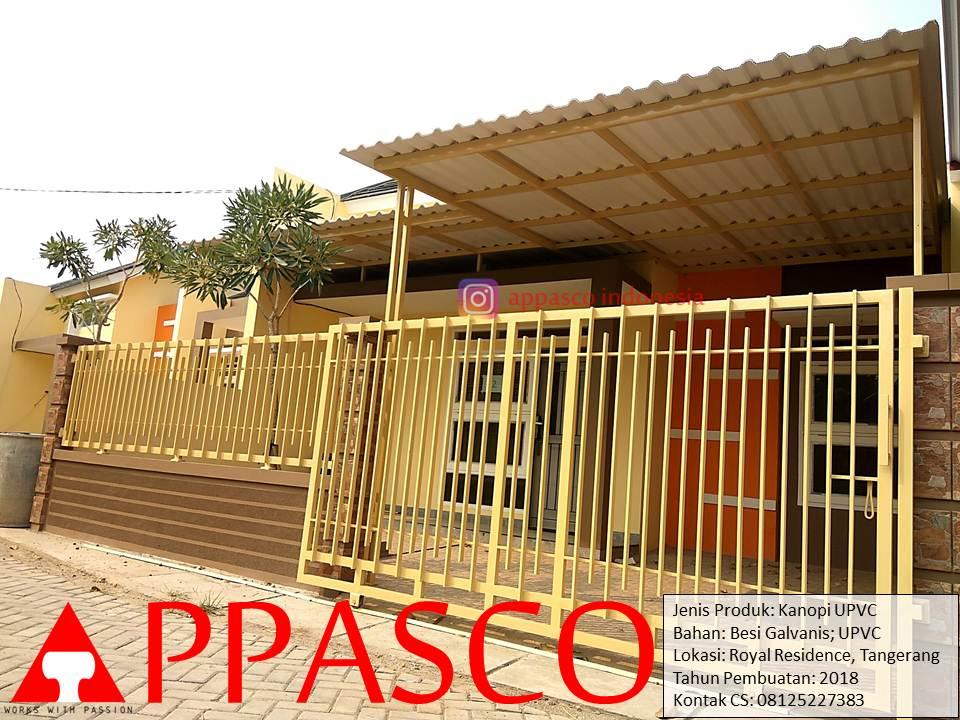 Kanopi UPVC Minimalis Modern Soft Krem di Royal Residence Tangerang