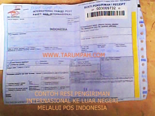 Contoh resi pengiriman internasional melalui Pos Indonesia