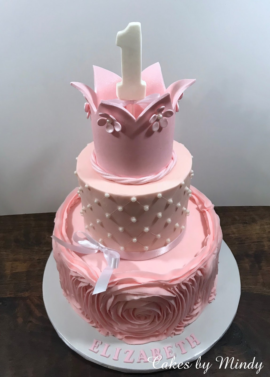 Cakes by Mindy: Pink Roses and Pearls Princess Cake 6\