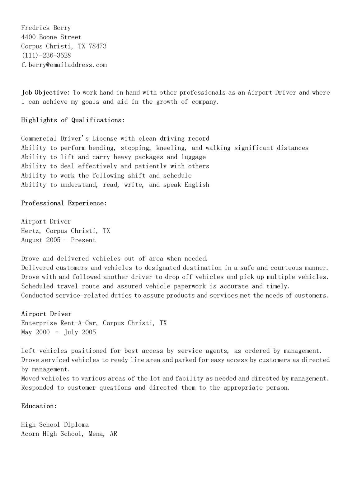 Cdl Driver Resume Sample Commercial Driver Resume Examples
